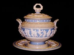 Antique Mettlach Soup Tureen Blue And White Cameo Relief Classical Figures.