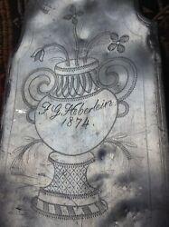 Antique 1874 German Etched Pewter Bottle Canteen Wine Water Rum Gin Flask Flagon