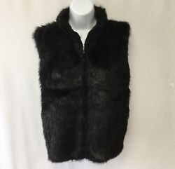 KIKIT Womens Faux Mink Fur Zip Front Vest SMALL Black Lined EUC