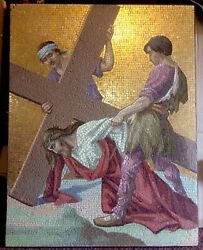 RARE Old Mosaic Jesus Stations Of The Cross Easter Christ Church Shipping Ok