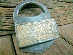Old Antique Beautiful Handmade Screw Type Front Brass Fitted Iron Mugal Pad Lock