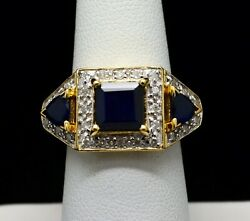 14k Yellow Gold Stunning Sapphire With Diamond Accents Ring Sz 7 Gold-228