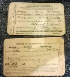 1941 World War Ii Selective Service Draft Card Lew Mccreary Lewis Melvin Music