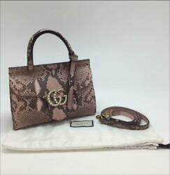 Gucci GG Marmont Hand Shoulder Bag Python Leather 442622 Pink Gray Auth Mint