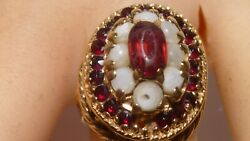 1890s Victorian Filigree 14k Yellow Gold Ring Garnet Pearls Antique Handcrafted