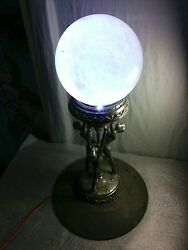 ART DECO QUARTZ CRYSTAL BALL WICCA FRANKART  LAMP 3 NUDE FLAPPER WOMEN HOLD UP