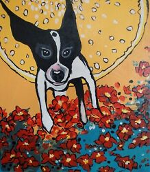 Art Paintings Custom One Of A Kind Original Folk Outsider Dog Flower Yellow Red