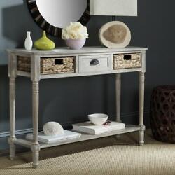 Console Storage Table Furniture Distressed White Rustic Entryway Hall Gift New