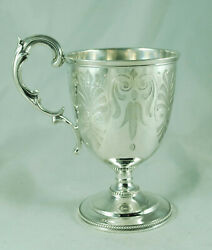Early Victorian Silver Christening Cup Daniel And Charles Houle London 1863 158g A