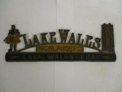 1950s Lake Wales Florida Cast Aluminum Topper For License Plate Tag