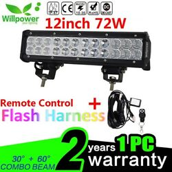 12inch 72w Led Work Light Bar Suv 4wd Car Off Road Truck+remote Wiring Harness