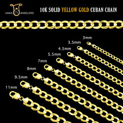 10k Solid Yellow Gold 3mm - 11m Mens Womens Cuban Link Chain Necklace 16-30