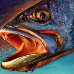 Speckled Sea Trout Head PaintingGiclee Print 32x32 Inches Salt Water Fishing