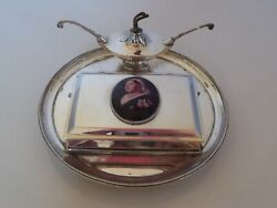 Silver Dated 1886 Cigarette Boxtraylighter Queen Victoria Pictorial Enamel