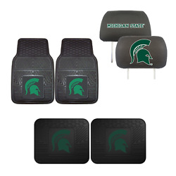 Michigan State Spartans Car Truck Front Rear Floor Mats Set And Head Rest Covers