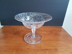 Antique Abp Hawkes Intaglio Cut Glass Crystal Footed Bowl Compote 10 Signed Vgc
