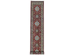 3and0394x19and039 Red Super Kazak Geometric Design Xl Runner Handknotted Rug G50456