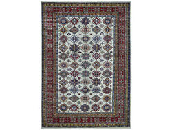 8and0396x11and0399 Ivory Super Kazak Pure Wool Geometric Design Handknotted Rug G50305