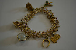 Vintage Beautiful 14k Solid Yellow Gold Charm Bracelet W/charms 7.5