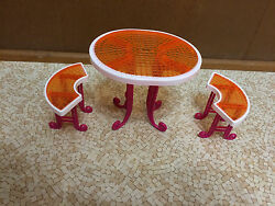 Barbie Doll My Dream House Glass-look Orange Picnic Table Patio Glam Furniture