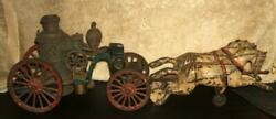 Circa 1894 Wilkins Toy Company 18½ Two Horse Drawn Cast Iron Fire Pumper Toy