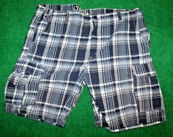 Menand039s 626 Blue Big And Tall Cargo Shorts Blue/white Plaid 100 Cotton 44 X 10