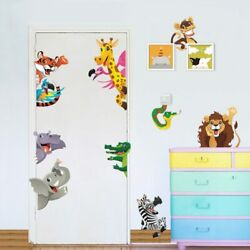Jungle Animals Wall Stickers For Kids Rooms Cartoon Lion Elephant Wall Decors