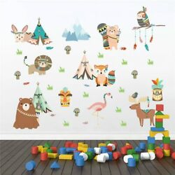 Funny Cartoon Animals Tribe Wall Stickers For Kids Rooms Home Decoration Art