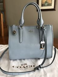 Coach Smooth Leather Crosby Carryall 33545 W/matching Wristlet- Cornflower