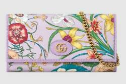 GUCCI Chain Wallet Bag Purse Flora Lilac by Vittorio Accornero Japan Limited New