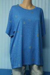 NWT J. Crew 100% cotton bright blue short sleeve tee with tiny summer print  2X