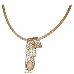 Opal Sapphire Sterling Silver Gold Pendant Necklace Vintage Estate Fine Jewelry