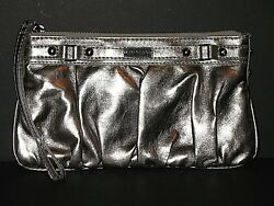EXPRESS METALLIC SILVER PEWTER CLUTCH PURSE WRISTLET MAKEUP STORAGE BAG $14.95