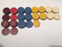 Group Of 91 Antique Poker Chips Fleur De Lis White Red Blue Yellow