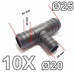 10x 20mm To 25mm T-piece 3-way Hose Tube Pipe Splitter Connector Air Fuel Water