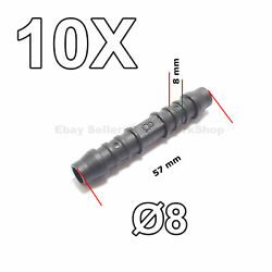 10x 8 Mm Straight Barbed Hose Pipe Tube Joiner Connector For Air Fuel Water