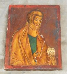 Antique 15-16c Russian Byzantine Hand Painted St Nicholas Orthodox Wooden Icon