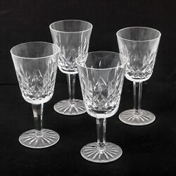 Set Of 4 Waterford Lismore Cut Crystal White Wine Glasses Stemware 5.5 Tall