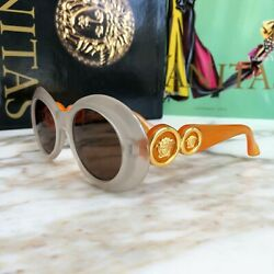 GIANNI VERSACE light taupe orange gold sunglasses Mod. 418 Col. 445 from ss 1996