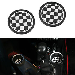 2x 72mm Black Uk Checkered Pattern Style Coaster For Mini Cooper Cup Holders New