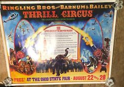 Vtg Ringling Bros And Barnum And Bailey Thrill Circus Ohio State Fair 1977 Poster