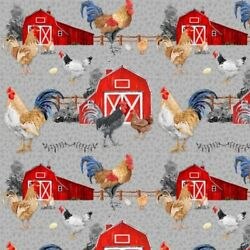 Country Farm Fabric Chicken Scratch Rooster Barn Gray Blank Quilting YARD