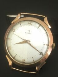 Omega Vintage Watch 18k Yg Over Size 38 Mm Originall Dial Contract Case