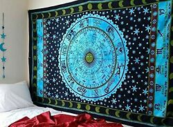 Blue Zodiac Tapestry Horoscope Tapestry Indian Astrology Hippie Tapestry Wall...