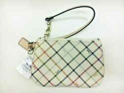 COACH PEYTON TATTERSALL WHITE WRISTLET BAG PURSE WALLET NWT NEW