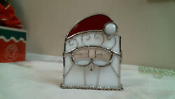 Stained glass SANTA candle holder home decor christmas tea lite