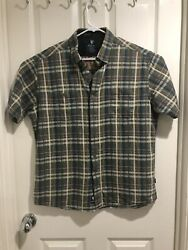 Menand039s Kuhl Multicolor Plaid S/s Button Up Shirt Size Xlarge Metal Buttons Nice