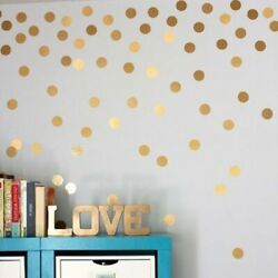 Gold Polka Dots Wall Stickers Removable Kids Children Room Wall Art Decoration