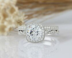 2.34 Tcw Round Cut Halo Vintage Style Engagement Wedding Ring Set In White Gold