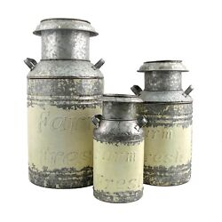 Set Of 3 Galvanized Old Style Milk Jug Planter Containers